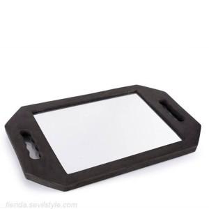 espejo irrompible con asa negro - bifull
