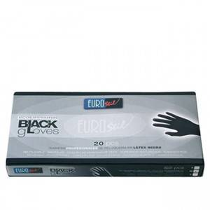 box of 20 latex gloves black l - eurostil